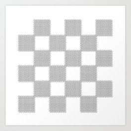 3D Line Drawing Cubes - Checkers Art Print