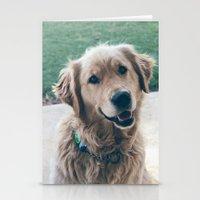 golden retriever Stationery Cards featuring Golden Retriever by CallieDavis
