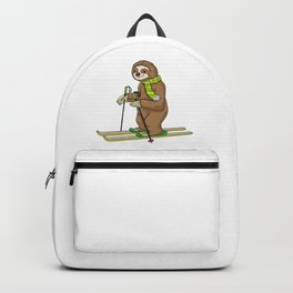 Sloth with scarf as skier with skis Backpack