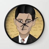 kafka Wall Clocks featuring Kafka by Pendientera