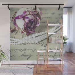 love letter with pearls and rose Wall Mural