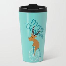 Mr Reindeer having Fun with his Penny-farthing Bicycle Travel Mug