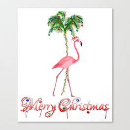 Merry Christmas Pink Flamingo Beach Xmas Canvas Print