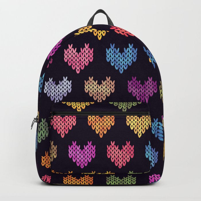 Colorful Knitted Hearts III Backpack