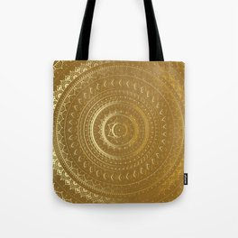 Gold Mandala. Indian decorative pattern. Tote Bag