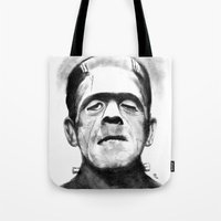 frankenstein Tote Bags featuring Frankenstein by Zombie Rust