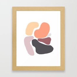 Big Bright Blobs in Peach and Grey Framed Art Print