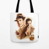 mad men Tote Bags featuring MAD MEN DON DRAPER by TOXIC RETRO