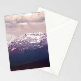 Mont blanc massif mountain in Alps by overcast dark sky Stationery Cards