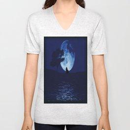 Blue moon wolf Unisex V-Neck