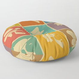 colorful Icons man in a headdress hat Floor Pillow