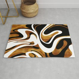 Finger Paint Swirls - Gold, Black and White Rug