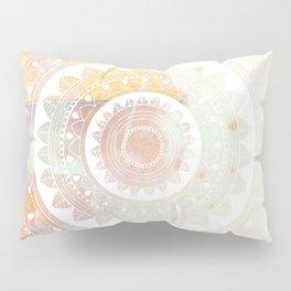 Ukatasana white mandala on pink Pillow Sham