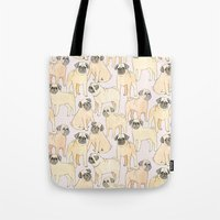 pugs Tote Bags featuring Pugs by Sian Keegan