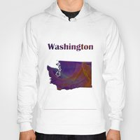 washington Hoodies featuring Washington Map by Roger Wedegis