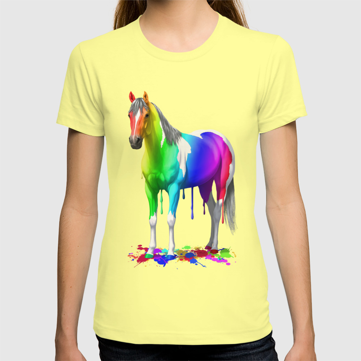 Funny Colorful Rainbow Dripping Wet Paint Horse T Shirt By Csforest Society6