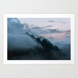 Dolomite Mountains Sunset covered in Clouds - Landscape Photography Art Print