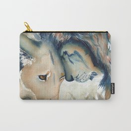 Watercolor Lion and Lioness Carry-All Pouch