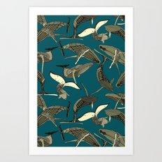 just whales blue Art Print