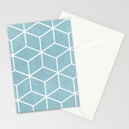 Light Blue and White - Geometric Textured Cube Design Stationery Cards