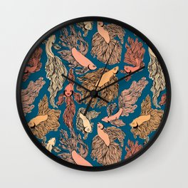 Navy and Orange Free Flow print Wall Clock