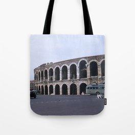 Vintage Color Photo * Verona Arena * Italy * 1950's * Antique Cars * Bus *Italian Tote Bag