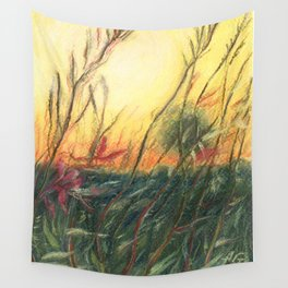 Wildflowers_Pastel Drawing Wall Tapestry