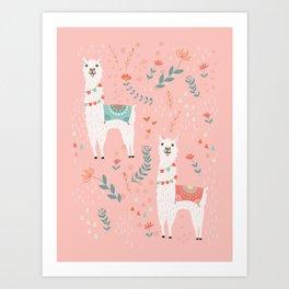 Lovely Llama on Pink Art Print