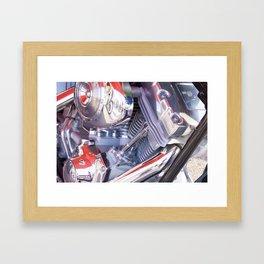 Chromed motorbike engine Framed Art Print