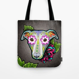 Greyhound - Whippet - Day of the Dead Sugar Skull Dog Tote Bag