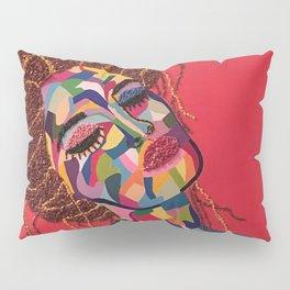 Pop Art woman face colors Fauve Lady 4 rock Pillow Sham