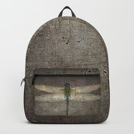 Dragonfly On Distressed Metallic Grey Background Backpack