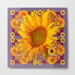 Awesome Patterned Golden Sunflower Art Metal Print