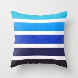 Colorful Blue Stripe Pattern Throw Pillow