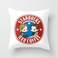 stucky Throw Pillows featuring Starbucks - Steve Rogers and Bucky Barnes Iced Coffee  by BlacksSideshow