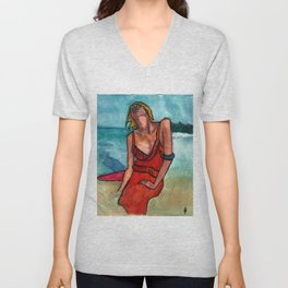 Girl in the waves. Unisex V-Neck