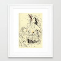 swim Framed Art Prints featuring SWIM by withapencilinhand
