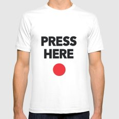 Press Here - Red Dot Mens Fitted Tee White MEDIUM