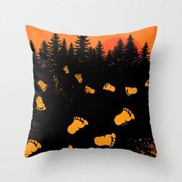 Bigfoot Tracks At Sunset Throw Pillow