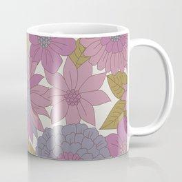 Pink & Purple Retro Floral Pattern Coffee Mug