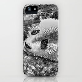 AnimalArtBW_Panda_20180102 iPhone Case