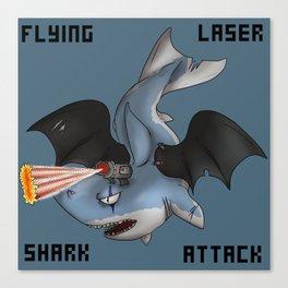 Flying laser Shark Attack Canvas Print