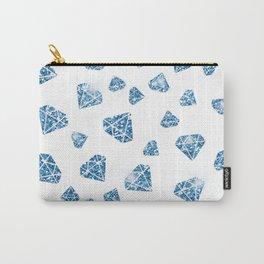 Glam Blue Faux Glitter Diamond Jewel Pattern Carry-All Pouch