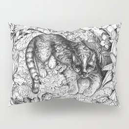 Tropical Wild Cat with Passiflora Pillow Sham