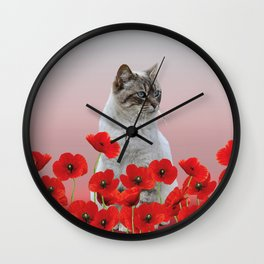 poppies Flowers with white grey cat Wall Clock