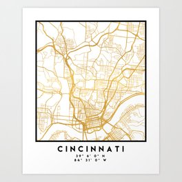 CINCINNATI OHIO CITY STREET MAP ART Art Print