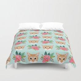 Tabby cat florals flowers must have cat themed gifts pet portrait cat lady mint pastel cat art fur Duvet Cover