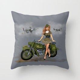 Spitfire Pin Up Art Throw Pillow