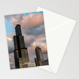 Cotton Candy Skies in the Chicago Skyline Stationery Cards