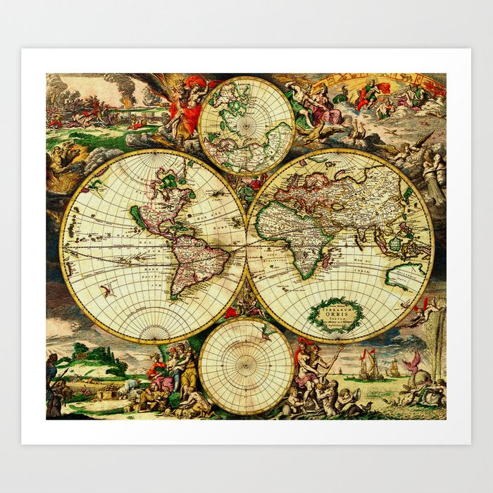 Ancient world map 1689 art print by yesteryears society6 ancient world map 1689 art print gumiabroncs Gallery